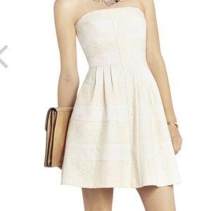 BCBG Maxazria White Lace Striped Strapless Dress